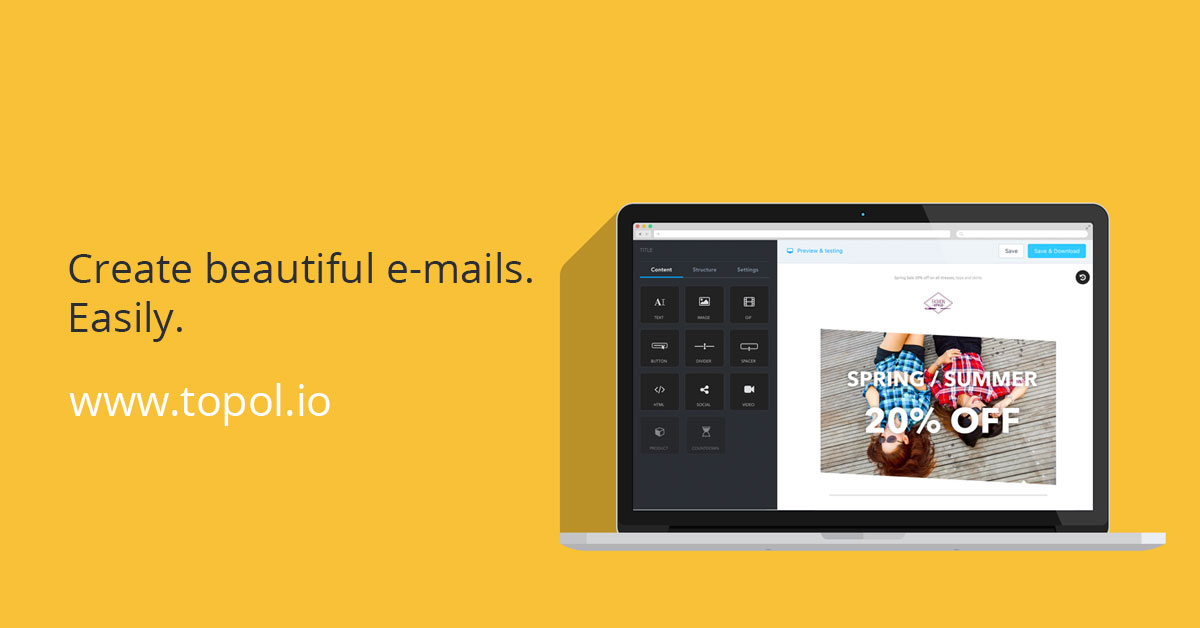 Topolio Beautiful Email Editor And Builder - Email template builder open source